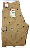 Wrangler Men's Regular Khaki Beer Can Cargo Relaxed Knee Shorts NEW Choose Size