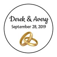 30 Personalized Bridal Shower stickers favors labels wedding Gold rings round