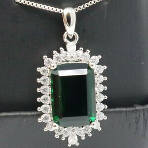 Large Green Emerald Cut Emerald White CZ Halo Pendant Necklace White Gold Plated