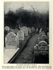 Dogs-CEMETERY WITH GRAVE STONES IN LONDON historical capture 1906