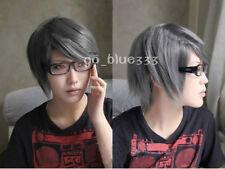 Persona 4 Narukami Yu short dark grey cosplay wig   @68