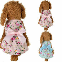 Soft Cotton Floral Pet Dog Dress for Dog Cat Clothes Cozy Doggie Apparel Dress