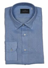 The Wardrobe Casual Shirt: Large Sky blue, point collar, pure linen