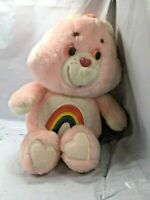 Care Bears Rainbow Cheer Bear Vintage Pink Plush Kenner 13 Inches Original 1983