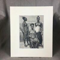 1890 Antique Print Fante Tribe Tribal Women Akan People Gold Coast African Art