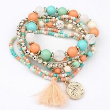 Style Hot Multi-layer Metal Bracelet Colorful Beads Coin Tassel Bracelets