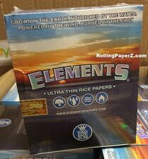 New Sealed Box - 50 Packs ELEMENTS KING SIZE SLIM Ultra Thin Rice Rolling Papers