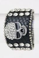 Black Leather Snap Bracelet With Clear Rhinestone Skull