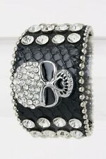 Black Leather Snap Bracelet With Clear Rhinestone Skull
