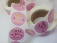 Round Sticky Labels Thank You For Your Business Gift Craft Box Pink Gold Writing
