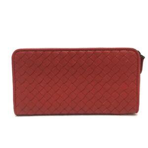 UNUSED BOTTEGA VENETA 275064 Intrecciato Zip Around Long Wallet Leather Red