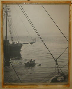 Vintage HARVEY FALK 'The Dory' Young Boy Rowing FLORIDA Pictorialist PHOTOGRAPH