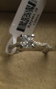 1 CTW CZ Solitaire w/Accents Ring, Rhodium Plated Over 925 Sterling, Size 10