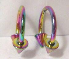 Pair Rainbow Titanium Horseshoes Spikes Spiked Hoops 14 gauge 14g 12 mm Diameter
