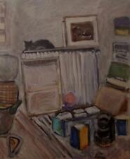 MARGARET HARMSWORTH 1928-2007 Impressionist Oil Painting THE SLEEPING CAT