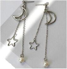 MOON STAR CHAIN DANGLE PEARL EARRINGS. SILVER PLATED