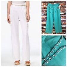 NWT JM COLLECTION MERMAID GREEN LINEN PULL-ON W/ CHAIN BELT WOMENS PANTS SIZE L