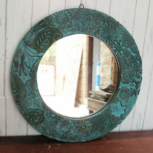 round Mirror Frame Decorative large round Blue color Wooden Frame wall Hanging