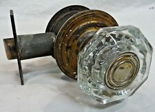 Antique Craftsman Style Crystal Door Knob Lockset- C. 1915 Architectural Salvage