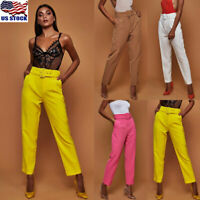 Fahsion Womens High Waist Casual OL Business Pencil Skinny Trousers Belted Pants