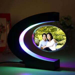 C Shape Blue Electronic Magnetic Levitation Floating Photo Frame Home Decoration
