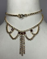 1950s Style Necklace Bib Style Jewellery Jewelry Gold Coloured Metal Clear Gems