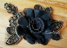 Embroidered BLACK & GOLD Organza Fabric Flower Leaf Lace Applique Patch Motif