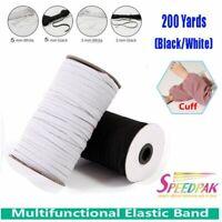 200Yards 180M Flat Elastic Band Ribbon Stretch Tape Trim Sewing Craft DIY 3/5MM