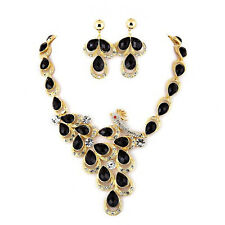 Black Lucite Peacock Necklace & Earrings Set w/ Rhinestones