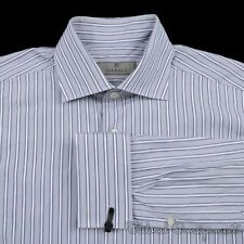 CANALI Current 1934 Gray Striped Cotton French Cuff Luxury Dress Shirt - 15.5