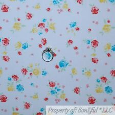 BonEful Fabric Cotton Quilt White Blue Yellow Pink Small Flower Cottage Nr Scrap