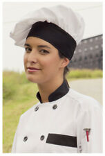 Togue Chef Hats, Cotton Poplin 5.25 oz, White with Black Trim - 100
