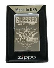 Zippo Custom Lighter Blessed Are The Peacemakers Blue Line Police Support