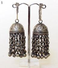 Antique Orient nomades Boucles d'oreilles afghan tribal Kuchi tussles vintage earring 17/1