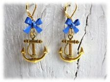 Captian's Diner - Ohrringe mit Brisur maritim Segler und Schleife blau gold