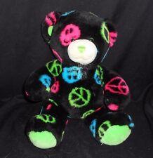 BUILD A BEAR BLACK PEACE SIGNS TEDDY BEAR STUFFED ANIMAL PLUSH GREEN PINK BLUE
