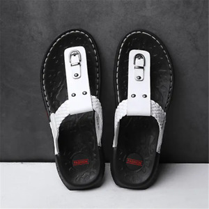Mens Sandals Flat Slippers Leather Flip Flops Outdoor Shoes Casual Luxury Summer