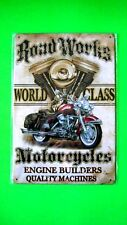 ROAD WORKS WORLD CLASS MOTORCYCLES Tin SIGN Home Garage Wall Decor Metal Plaque