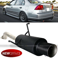 Fit 01-05 Civic 2/4 DR Bolt On Axle Back Exhaust Black Muffler Carbon Fiber Tip
