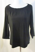 Talbots Top Women's M Pleated Boat Neck  Black  3/4 Sleeves Cotton Blend