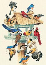 Cross Stitch Kit ~ Dimensions Feasting Frenzy Bird Feeder & 16 Birds #13683
