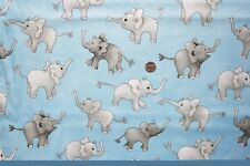 "Bebé elefante en Azul ""Up & Away"" TELA FQ 50x56cm Nutex 80000-102 100% algodón"