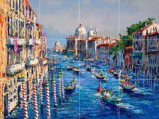grand canal venice italy fine art painting gondola ceramic tile mural backsplash