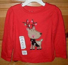 3T Red Girls Top Long Sleeves 100% Cotton Reindeer Holiday Everyday NWT