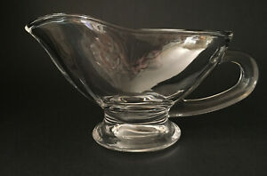 Glass Gravy Boat with Handle & Spout Crystal Clear Big 11oz 6.25 Inches MINT