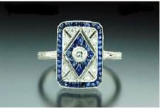 Blue Sapphire & White Diamond Vintage Engagement Antique Art Deco Wedding Ring