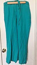 Ashley Stewart Plus Size 12 W Women's Navy Blue Linen Blend Wide Leg Pants