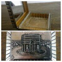 Boite art déco ancienne ARC de triomphe Paris signé Ruffony métal argenté  verre