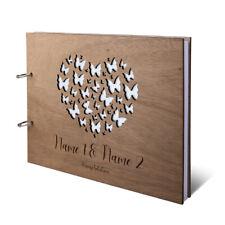 Hochzeit Gästebuch Holz Gravur individuell Holzcover A4 quer - Schmetterlinge