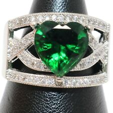 Sparkling Heart Green Emerald Halo Ring Women Anniversary Jewelry Gold Plated